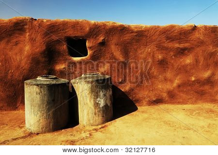 Architectural detail of a gipsy house in Thar Desert, India, Asia