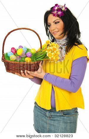Woman Looking At Easter Basket
