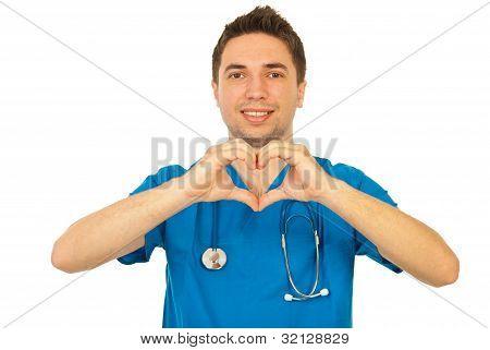 Happy Doctor Showing Heart Shape