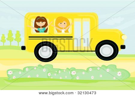a school bus heading to school with happy children