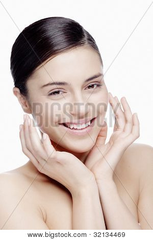 portrait of young woman smiling with natural makeup
