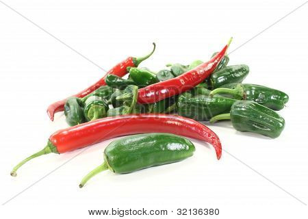 Fresh Green Pimientos With Red Chilies