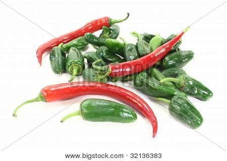 Green Pimientos With Red Chilies