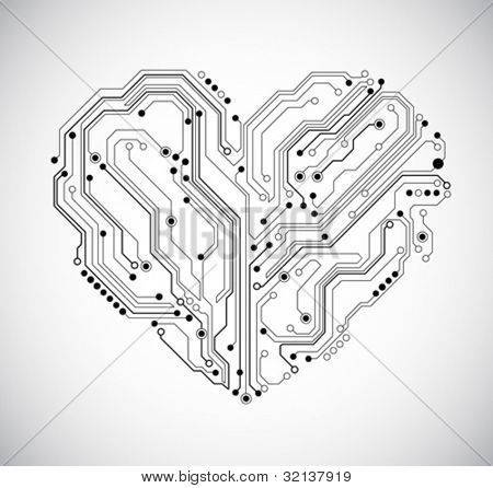 circuit board heart technology background - vector