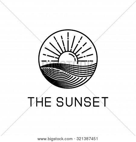 poster of Sunset Design Line Art Isolated White Background. Sunset Vector Illustration. Sunset Design Line Art