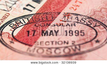 British Visa Stamp In Your Passport. Closeup