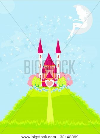fairy with a magic wand on the moon above castle