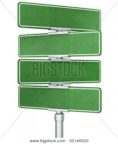 3d rendering of four blank signs stacked ontop of eachother