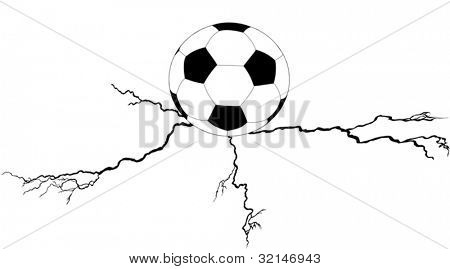 illustration with soccer ball on cleft