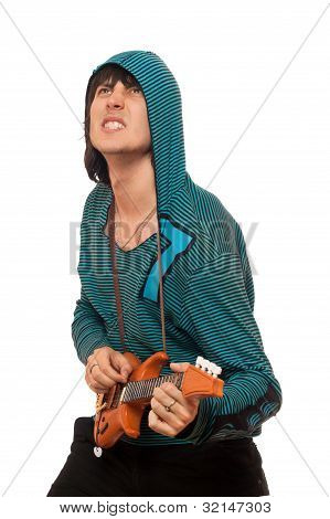 Expressive Man With A Little Guitar