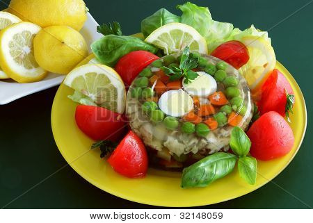 gelle with vegetable,meat and eggs as tasty meal