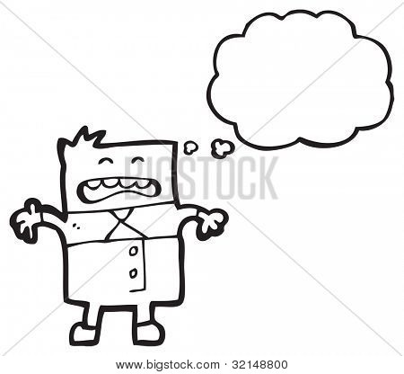 cartoon square business man with thought bubble