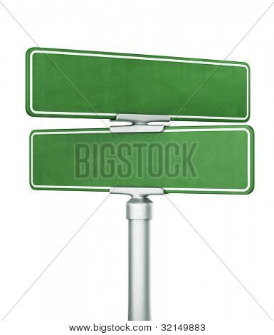 3d rendering of two blank signs stacked ontop of eachother
