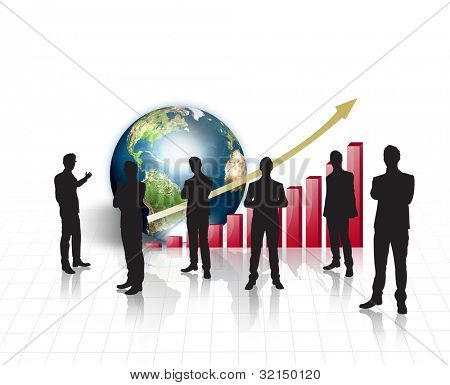 Silhouettes of business on world map  with red graph and earth  (Elements of this image furnished by NASA)