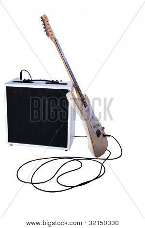 electric guitar and amplifier isolated on white