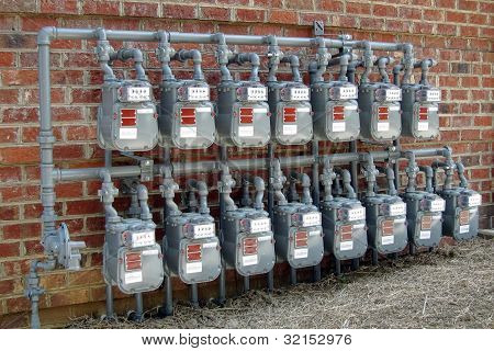 Gas Meter Rows On New Commercial Building Wall
