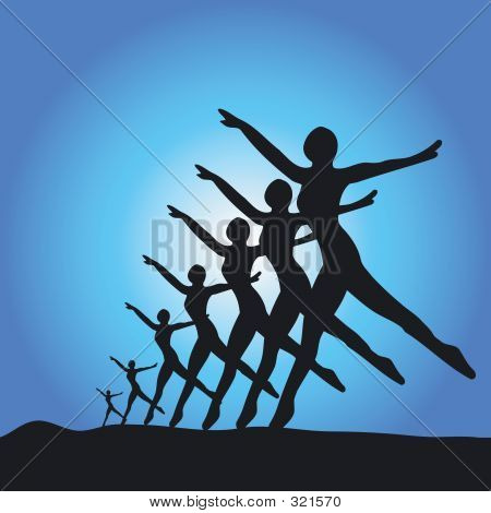 Silhouette Of Ballet Dancers