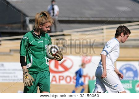 KAPOSVAR, HUNGARY - APRIL 20: Eszter Papp (goalkeeper) in action at Hungarian Cup Final women soccer game  MTK (blue) vs. Viktoria FC (white) April 20, 2011 in Kaposvar, Hungary.