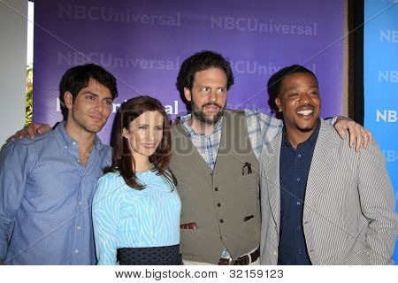 PASADENA - APR 18: David Giuntoli, Bitsie Tulloch, Silas Weir Mitchell, Russell Hornsby of 'Grimm' at the NBCUniversal summer press day on April 18, 2012 in Pasadena, California