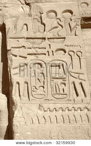 Hieroglyphics At Abu Simbel Temples