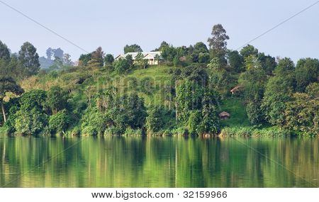 Waterside Scenery Near Rwenzori Mountains In Africa