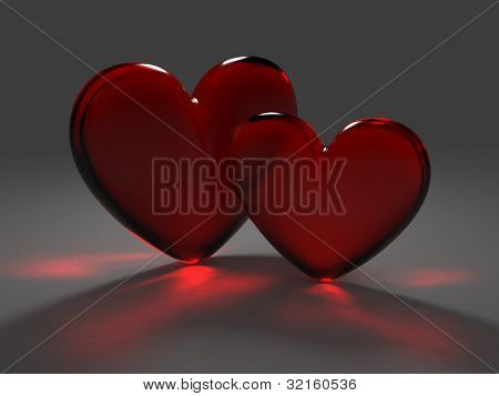 Two Red Hearts From Frosted Glass With Caustic Effect