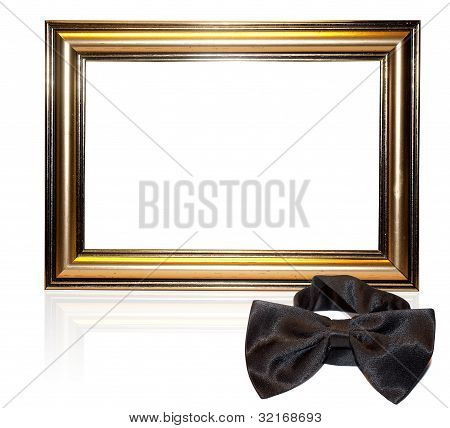 Decorative frame for a photo and bow-tie