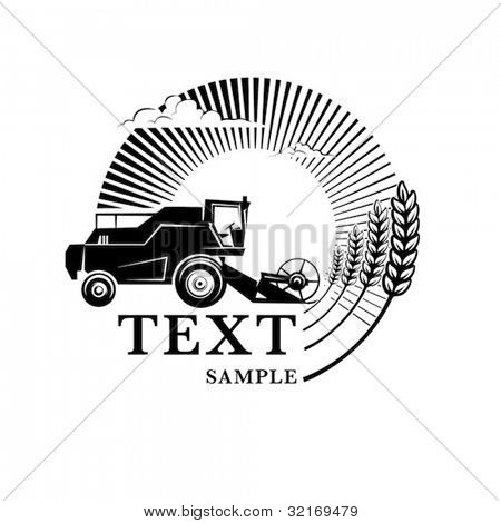 Combine harvester on a wheat field against sun. Engraving style