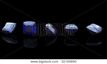 Blue gemstone of Square shape on  black  background.  Benitoit. Sapphire. Iolite.Tanzanite
