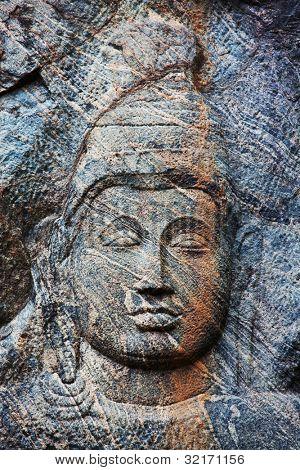 Carving in buddhist temple Buduruvagala, Sri Lanka