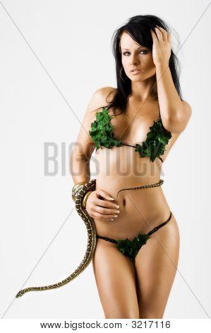 Sexy Frau im Bikini mit einer Schlange