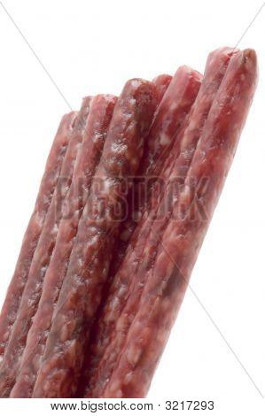 Smoked Small Sausage Close Up