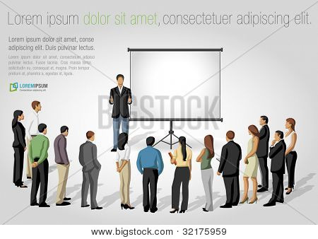 Business people and white billboard with empty space. Presentation screen.