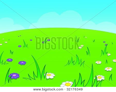 Beautiful green cartoon meadow against blue sky