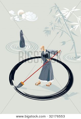 Zen Monk Painting A Circle
