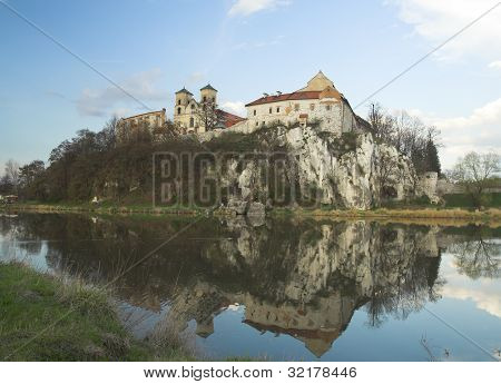 Early spring in Tyniec - view across Vistula River - horizontal image