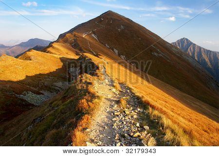 autumnal view from rohace mountains - west high tatra mountains- slovakia - europe