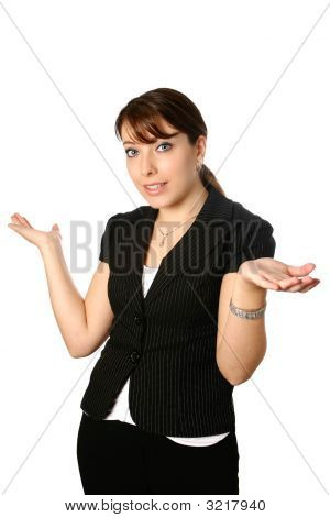 Young Businesswoman With Both Palm Upwards