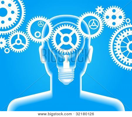 A man has an idea. Brain storming. File is saved in AI10 EPS version. This illustration contains a transparency