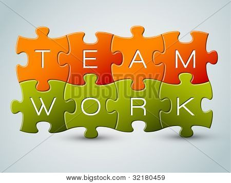 Vector puzzle teamwork illustration - orange and green