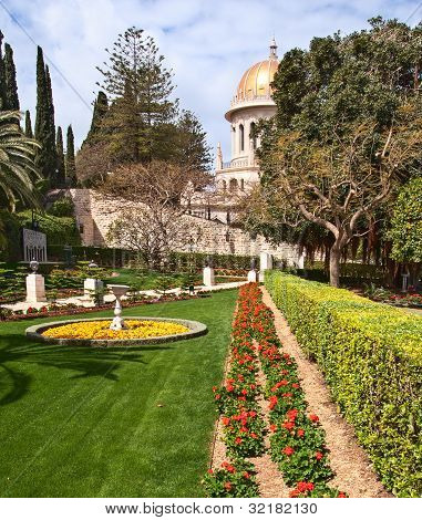 Bahai Temple Dome In Haifa Israel