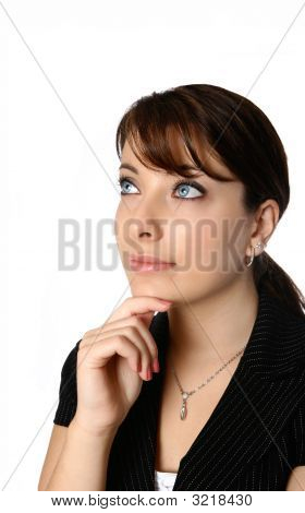 Businesswoman In Thinking Pose Chin Resting On Finger