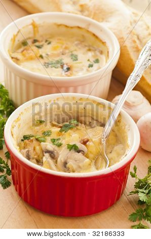 mushrooms baked with cheese