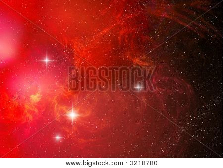 Red Abstract Nebula ( Abstract Background )