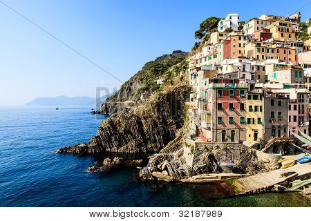 Harbor In The Village Of Riomaggiore In Cinque Terre, Italy