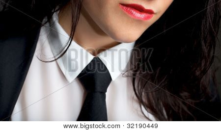 Female Wearing A Tie