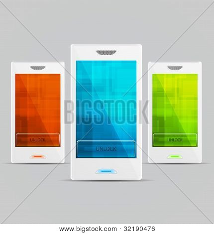 White Vector Cellphones set