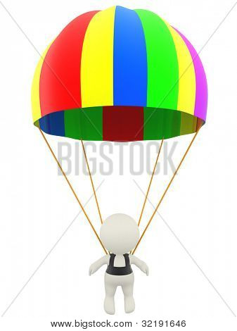 3D man with a parachute - isolated over a white background