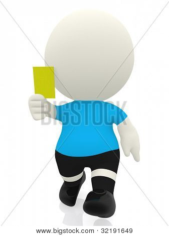 3D referee booking a yellow card - isolated over a white background