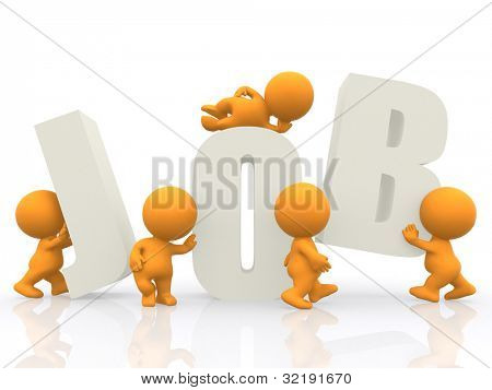 3D men finding letters of the word job - isolated over a white background
